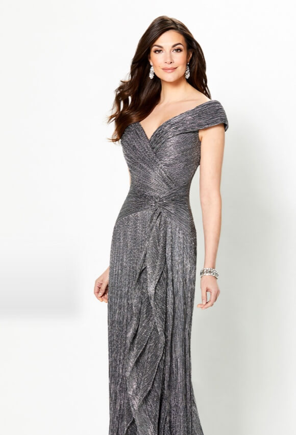 Model wearing gray evening dress